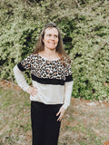 """Mix and Match"" Top with Leopard and Taupe"