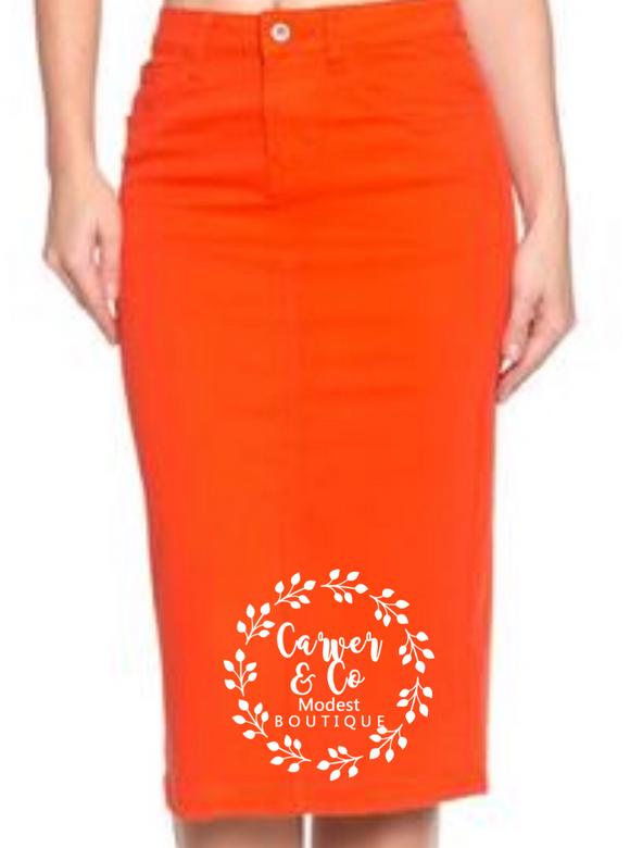 """Britt Nicole"" Orange Denim Skirt"