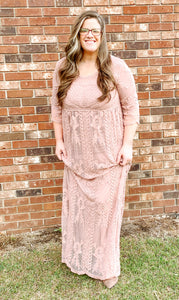 """Embrace the Lace"" Maxi dress in Mauve"