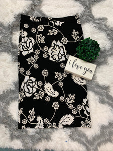 Junior Perfect Pencil Black Floral Skirt