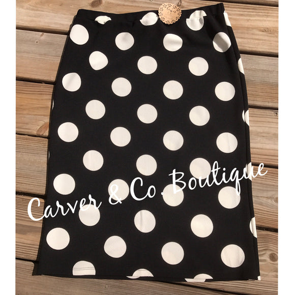 Black with Big White Dots Perfect Pencil Skirt