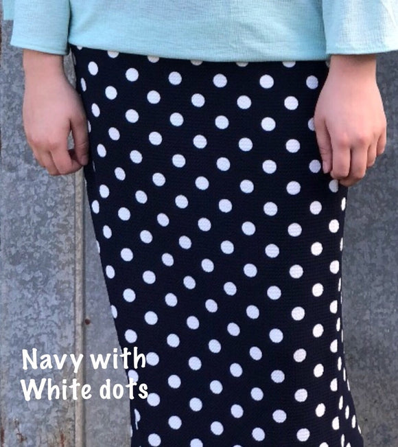 Perfect Junior Pencil Skirt In Navy with Dots