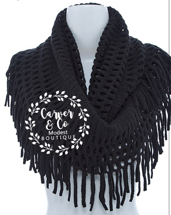 """Warm Winter Wishes in Black"" Infinity Scarf"