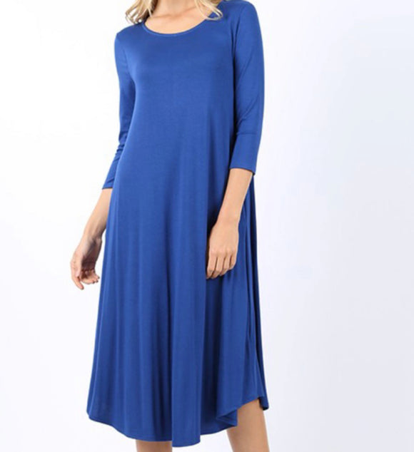 """The Perfect Fit"" Swing Dress in Blue"