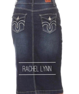 """Rachel Lynn"" Plus Midi Denim Skirt"