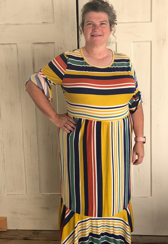 """Get Your Happy on"" Plus Striped Midi Dress"