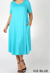 """The Perfect Fit"" Plus Swing Dress In Ice Blue"