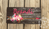 Rustic Floral Arrow Car Tag