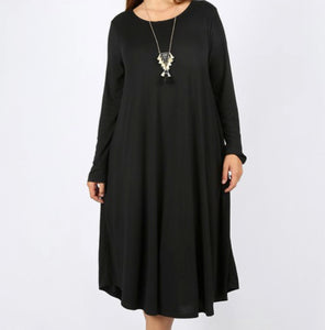"""The Perfect Fit"" Long Sleeve Plus Swing Dress in Black"
