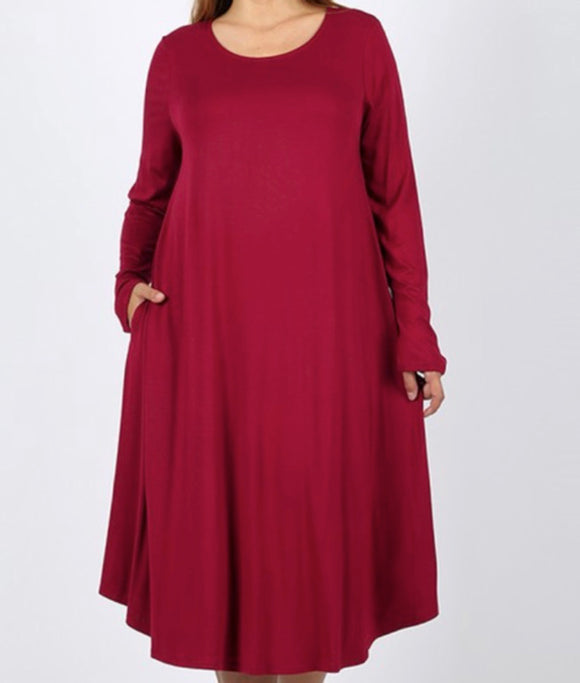 """The Perfect Fit"" Long Sleeve Plus Swing Dress in Burgundy"