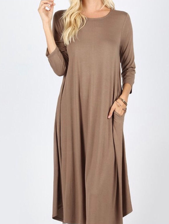 """The Perfect Fit"" In Taupe Plus Swing Dress"