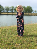 """Spring Forever Maxi"" Toddler Dress in Navy"