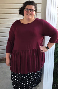 """Perfect Peplum"" Top In Burgundy"