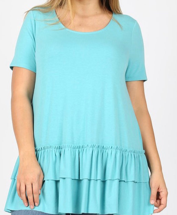 """Double Ruffle Hem Tunic"" In Mint"