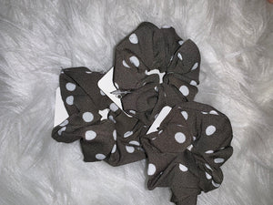 Hair Scrunchies: Charcoal Gray with white dots