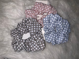 Hair Scrunchie: Baby Blue with small dots