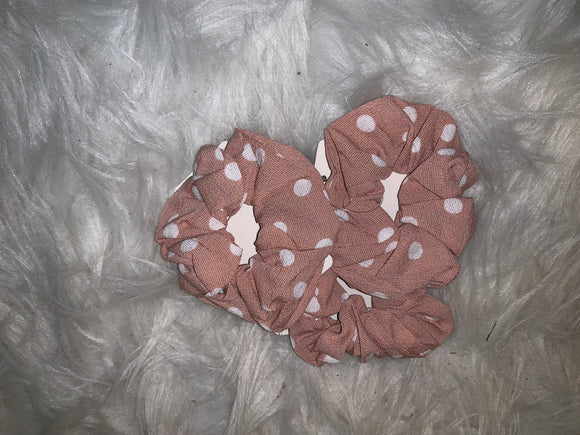 Hair Scrunchie: Deep Rose with White Dots