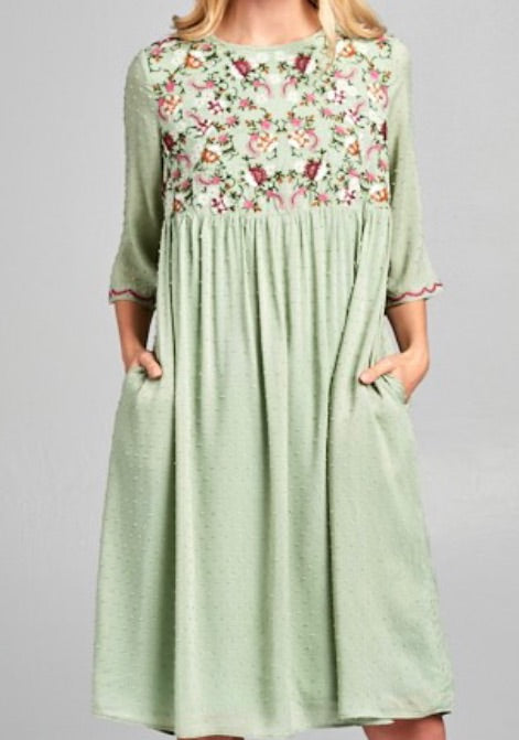 """Stunning In Sage"" Midi Dress"