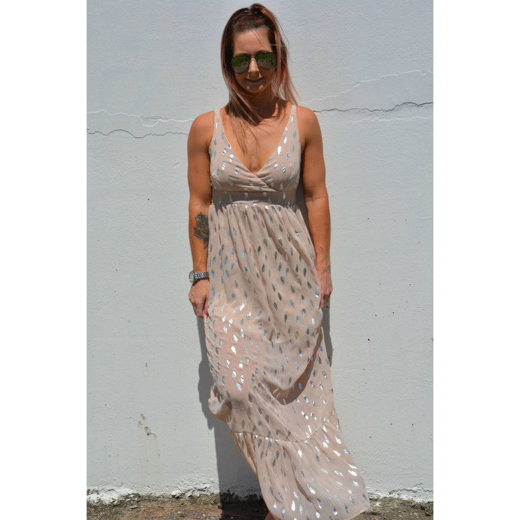 Burke st clothing 6 Feather foil maxi dress