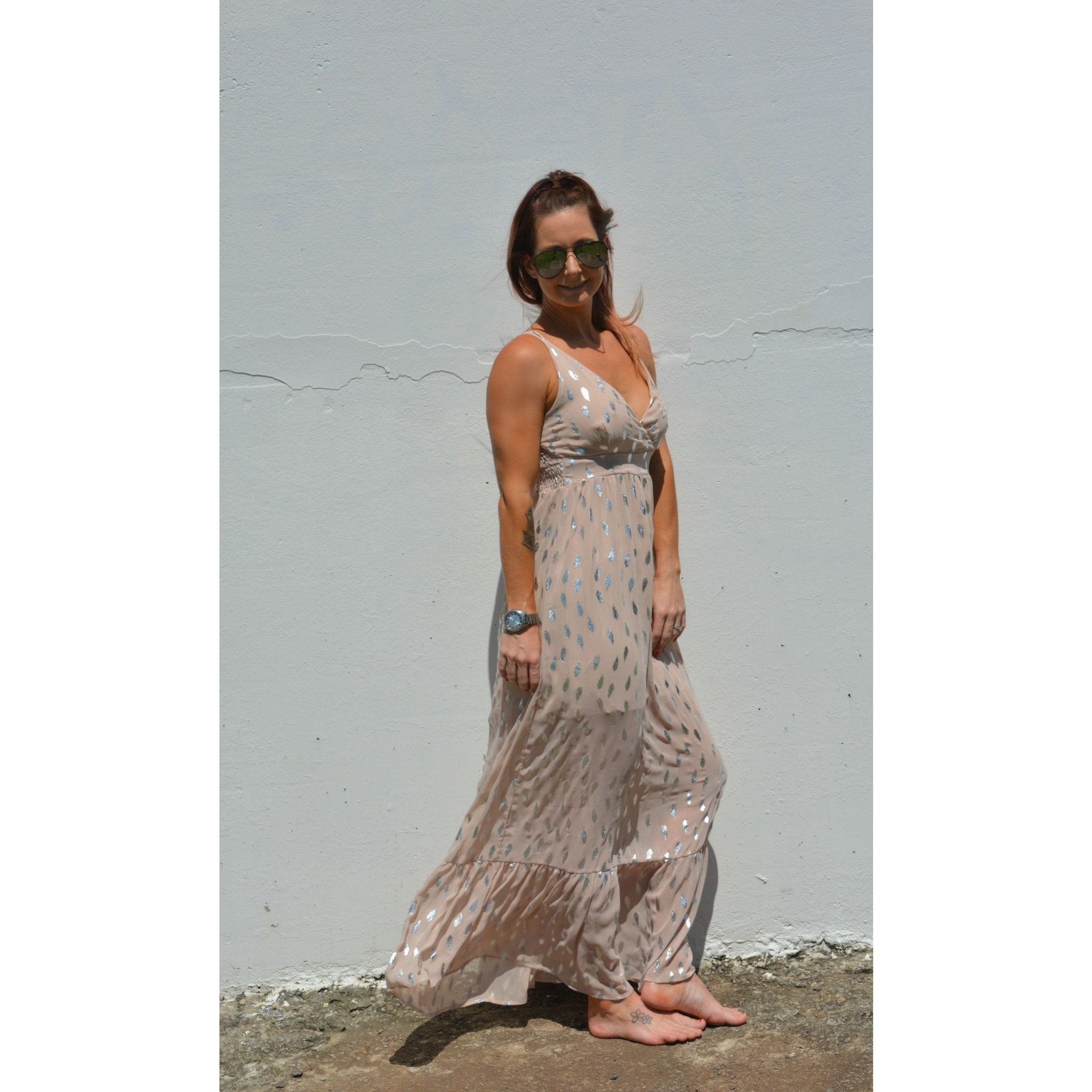 Burke st clothing Feather foil maxi dress