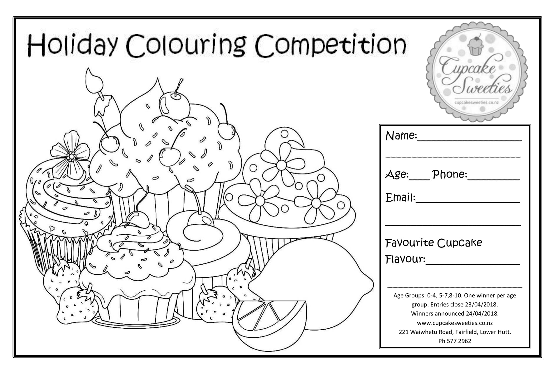 Cupcake Sweeties colouring competition entry form