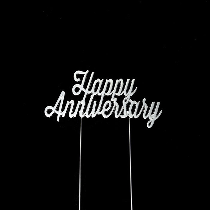 Cake Topper - Happy Anniversary (Silver Plated)