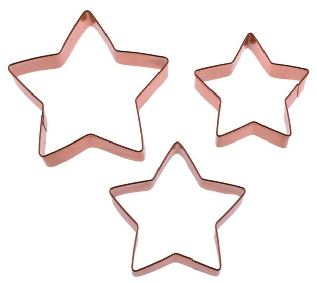 Star Cookie Cutter Set of 3 Copper Plated