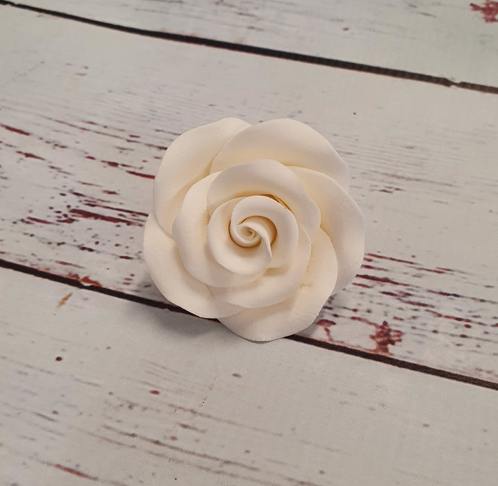 Edible Decorations - White Rose (Large - 6cm) (PICK UP ONLY)