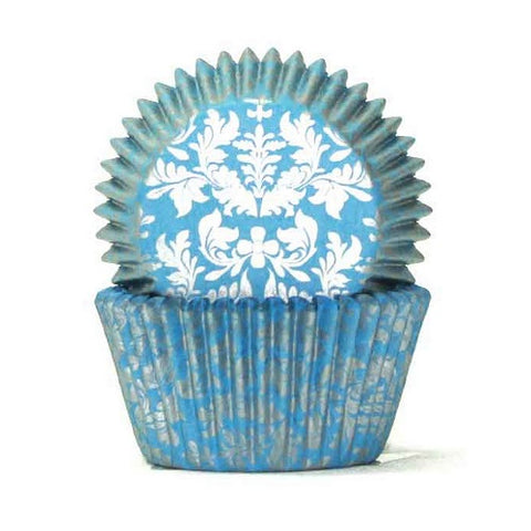 408 Cupcake Papers - High Tea Blue/Silver (100 approx)