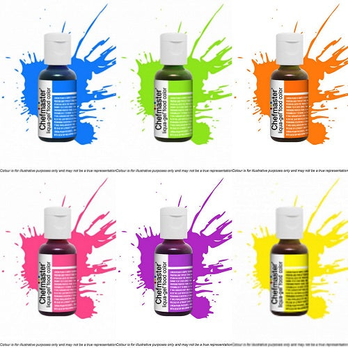 Chefmaster Liqua-Gel Food Colour - Neon Bright (Set of 6)