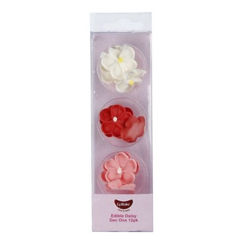 GoBake Dec Ons - Daisies - Red, Pink, White (12)