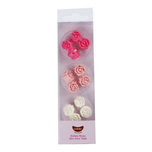 GoBake Dec Ons - Roses - Baby Pink, Bright Pink, White (12)