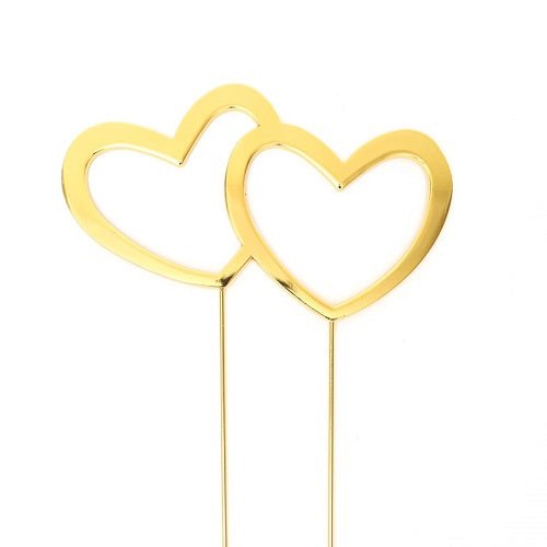 Cake Topper - Heart Double (Gold Plated)