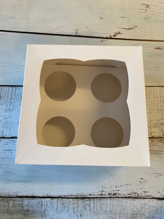 7 inch Cupcake Box with Window and Insert (4 cupcake holder)