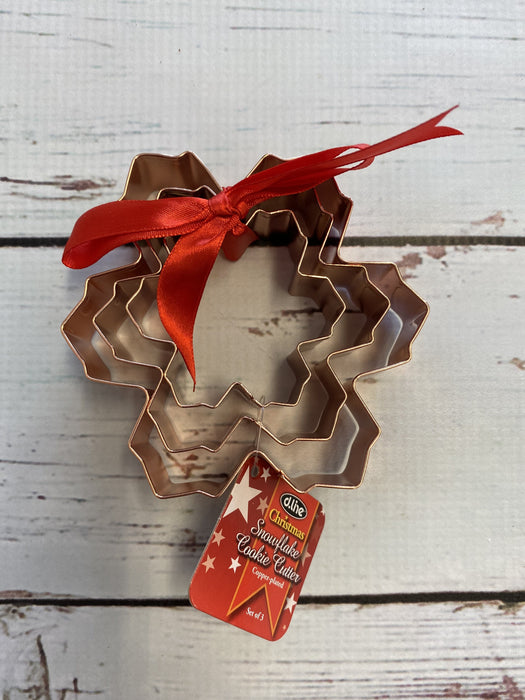 Snow Flake Cookie Cutter Set of 3 Copper Plated