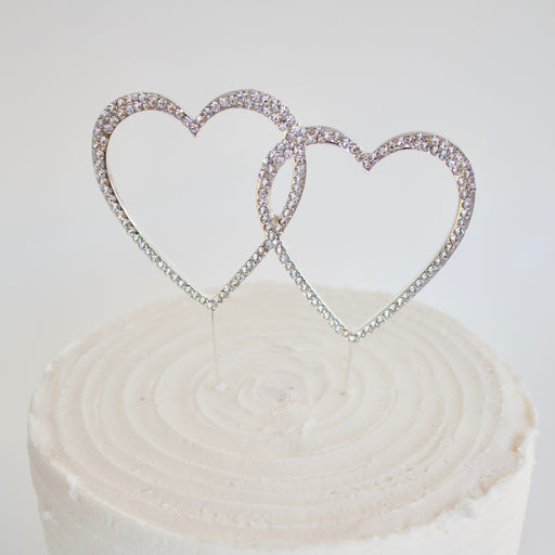 Cake Topper - Heart Double (Diamante)