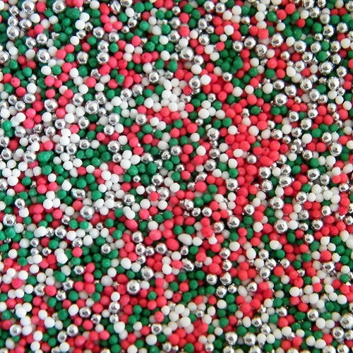 *Christmas Non Pareils - Green, Red, White & Silver - 100g