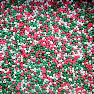 Christmas Non Pareils - Green, Red & White - 60gm