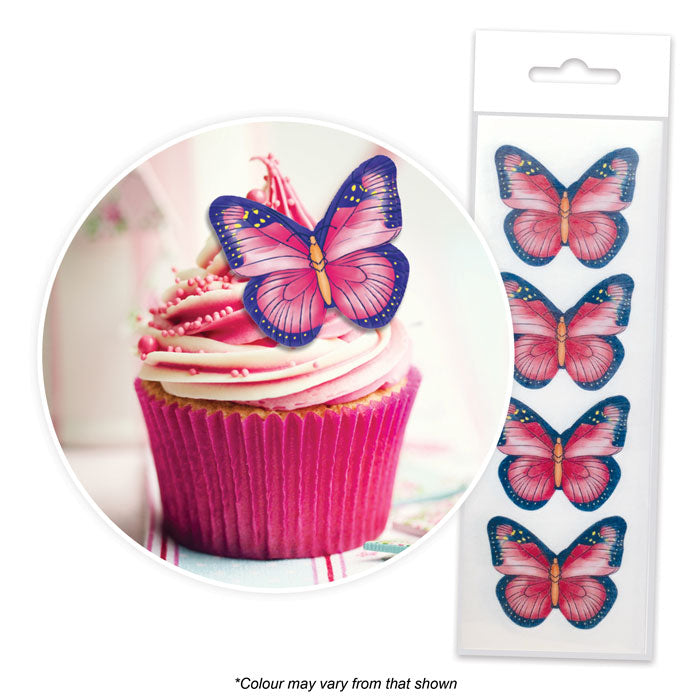 Edible Wafer Toppers - Butterflies Pink and Purple (pack of 16)
