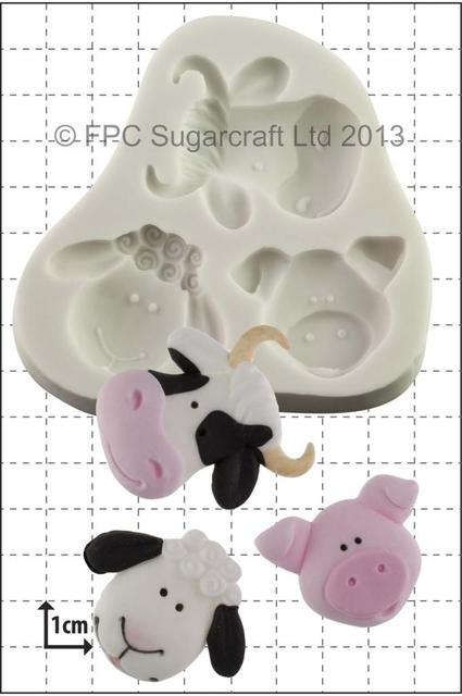 Silicone Mould - Farm Animals (Sheep, Cow, Pig)