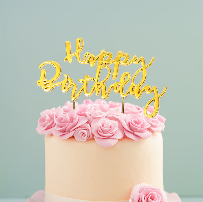 Cake Topper - Happy Birthday 2 (Gold Plated)