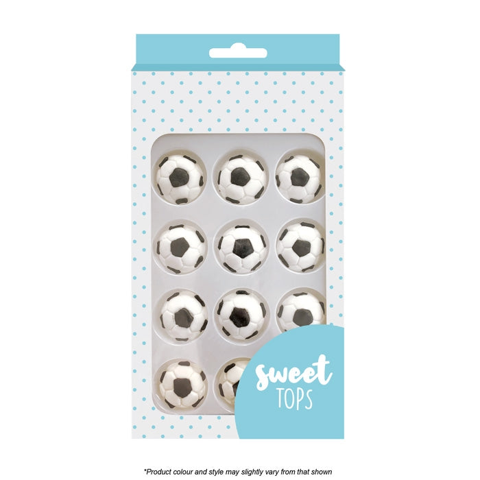 Sweet Tops | Soccer Ball | Icing Decorations | 12 Pieces