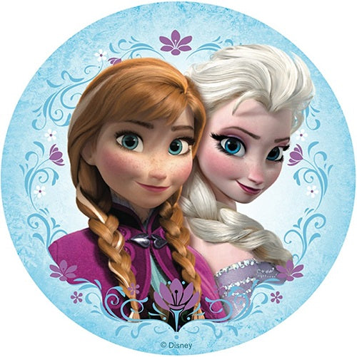 Round Edible Image - Frozen - Anna and Elsa (16cm)