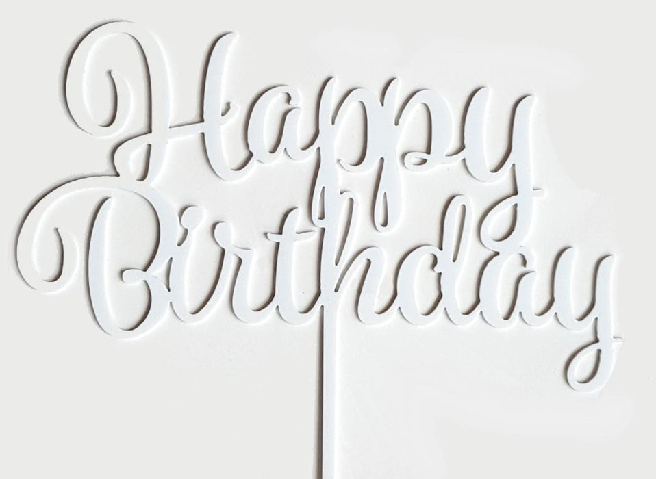 Cake Topper - Happy Birthday (White Acrylic)