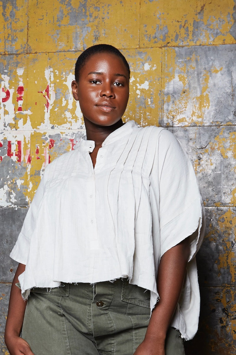 OAK Pintuck Cropped Top plus size putty CoverstoryNYC