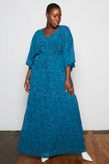 Standards & Practices Maxine Maxi Dress Plus size teal paisley floral dress