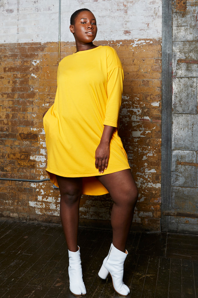 Shegul Khrstyana Knit Dress plus size marigold CoverstoryNYC
