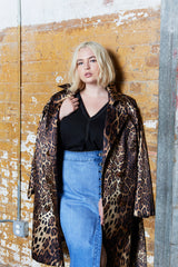 hegul Leopard print trench coat plus size