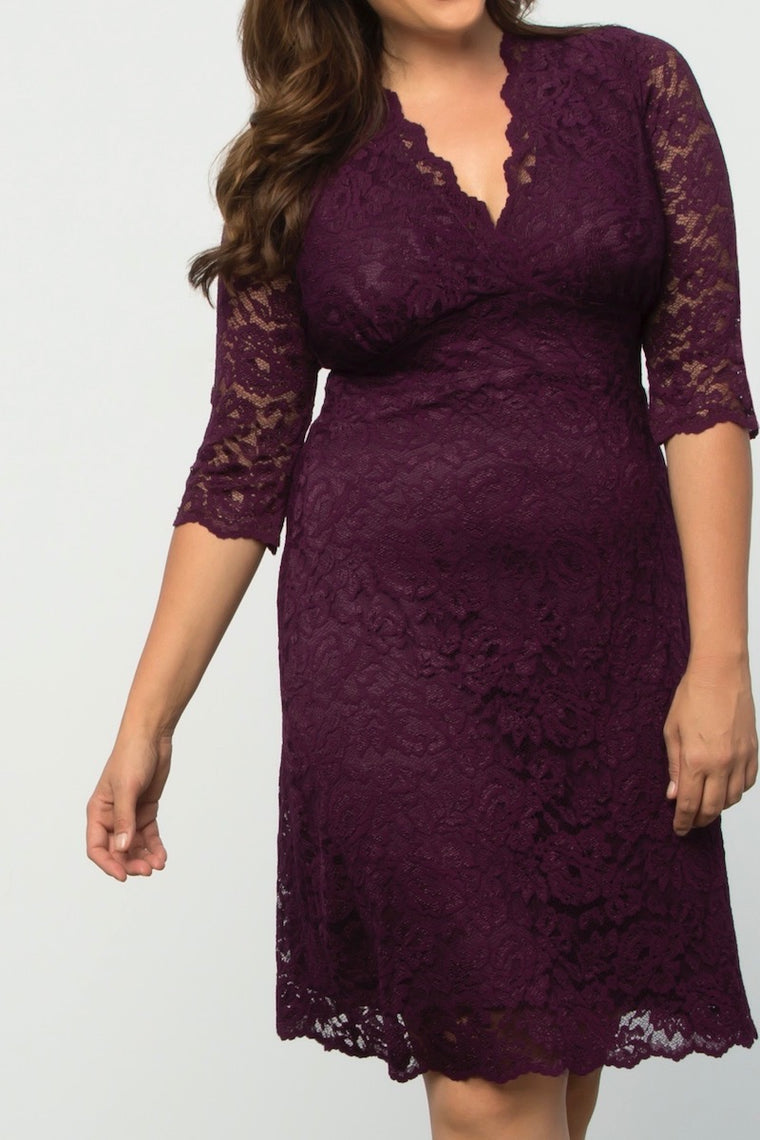 Kiyonna	Boudoir Lace Dress - Wine