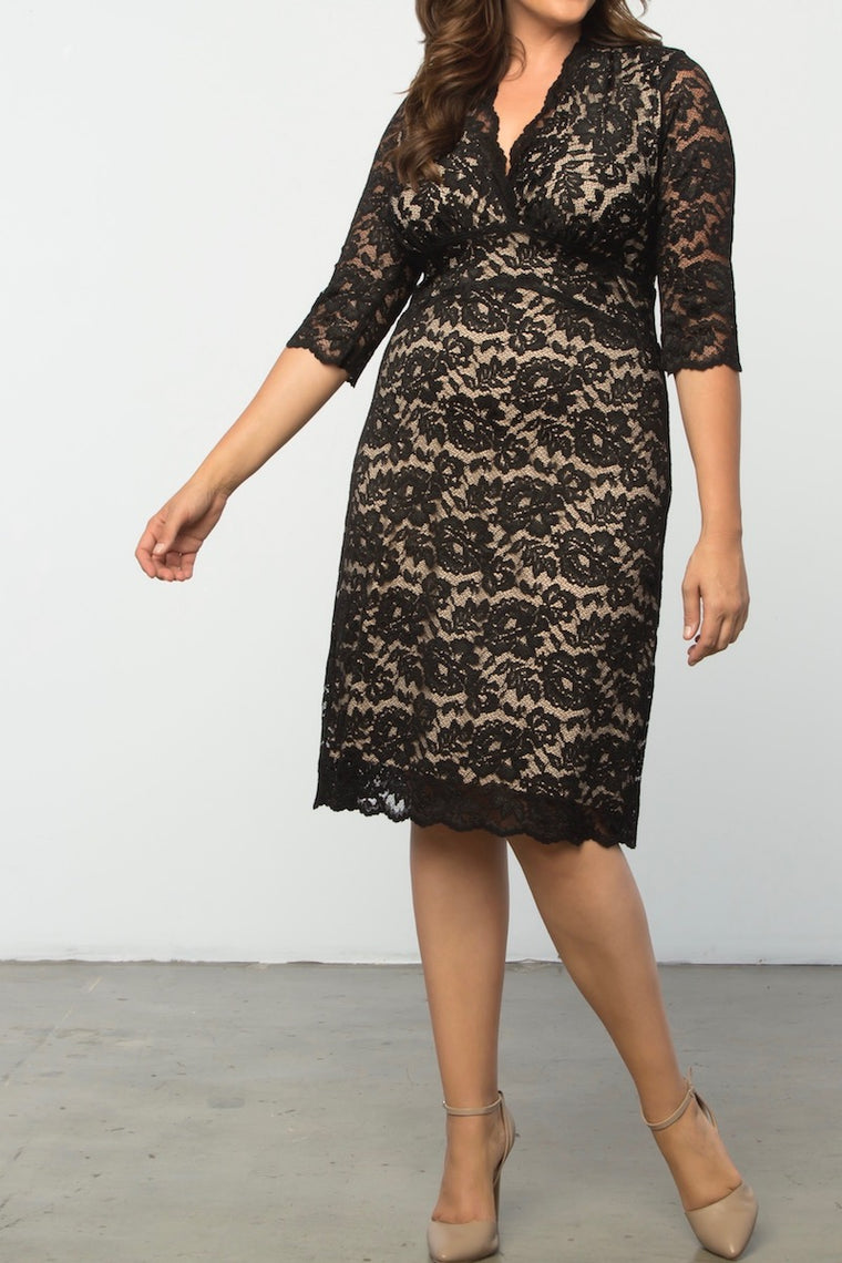 Kiyonna Boudoir Lace Dress - Black